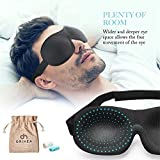 OriHea Eye Cover Sleeping Mask for Woman and Men, Patented Design 100% Blackout Sleep Mask Comfortable Eye Mask Blindfold, Black