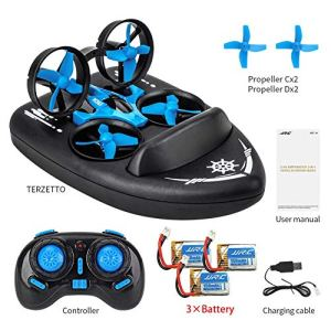 Storagc 3 in 1 RC Mini Drone JJRC H36F Terzetto Drone Boat RC Quadcopter with Headless Mode 2.4G Remote Control One Key Return 360°Flips Roll Stunt 2 Speed Mode and 3 Batteries consistent 51NIiKz6FoL