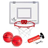Stumptown Sportz Mini Basketball Hoop with Breakaway Rim - Includes 2 Mini Basketballs & Hand Pump with 3 Inflation Needles - Designed for Over-The-Door use