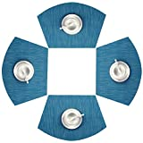 SHACOS Round Table Placemats Set of 4 Wedge Placemats Heat Resistant Table Mats Wipe Clean (4, Blue)