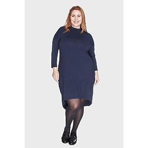 Vestido Mullet com Gola Alta Plus Size