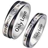 """HooAMI Mens Stainless Steel CZ Couple Ring """"You are always in my heart"""" Wedding Engagement Band Size 11 - Free Engraving"""