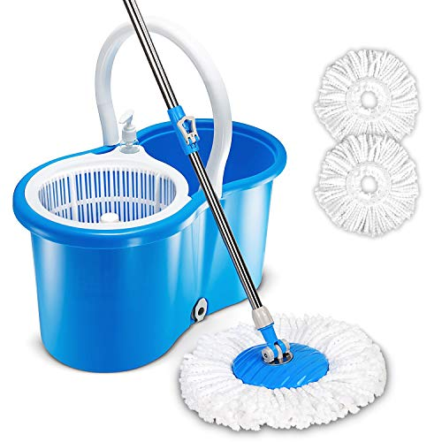 Hapinnex Easy Spin 360° Press Mop Bucket Set - Push & Pull Rotation - Liquid Drain Hole - Easy Wring with Reusable Mop Heads - Non Pedal