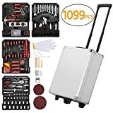 Yaheetech Sturdy 1099pcs Tool Box with Tools and Wheels Aluminium tool Chest Box Household Tool Kit Set Case Mechanics Tool Kit Box Organizer