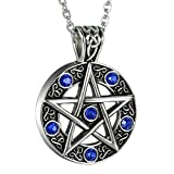 OIDEA Mens Stainless Steel Hollow Vitnage Star Pentagram Pentacle Pendant Necklace,Pagan Wiccan Witch Gothic Pewter Chain Included