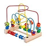 KOMOREBI Wooden Animal Beads Maze Game Educational Preschool Toddler Toys for1 2 3 4 5 Year Old Boys Girls Roller Coaster Around Circle Bead Early Development Toys with Mini Abacus