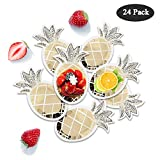 O-Heart 24 Pack Pineapple Paper Plates Disposable Gold Foil Pineapple Plates Tableware Set for Hawaiian Luau Wedding Party Supplies