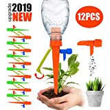 【2019 NEW 】Plant Self Watering Spikes System with Slow Release Control Valve Switch Self Irrigation Watering Drip Devices, Plant Waterer with Anti-Tilt Anti-Down Bracket, Suitable for All Bottles