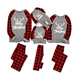 Yaffi Matching Family Pajamas Sets Christmas PJ's with Letter Printed Long Sleeve Tee and Red Plaid Pants Loungewear Baby:6-9M