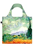 LOQI Museum Vincent Van Gogh's a Wheat Field with Cypresses Reusable Shopping Bag, Multicolored