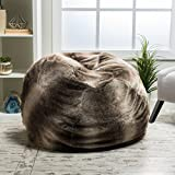 Product review for Meridian Bean Bag Chair | Plush Faux Fur Chair | Comfortable and Fun Beanbag for the Whole Family| Non-Spill Memory Foam Filling (Ash White)