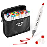 Fabric Markers Permanent 36 Colors of Ohuhu Dual Tip Fabric Paint Marker Pens for DIY Christmas Costumes, T-Shirt, Clothes, Shoes, Bags & Other Fabric Materials, Child Safe, Water-Based & Non-Toxic