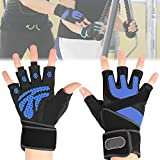 ANCHEER Weight Lifting Gloves with 18.5' Wrist Wraps Support for Gym Workout, Anti-Slip and Extra Durability (Pair) (Blue, M)