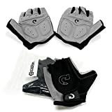 GEARONIC TM Cycling Bike Bicycle Motorcycle Glove Shockproof Foam Padded Outdoor Workout Sports Half Finger Short Gloves - Gray L