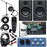 Presonus AudioBox 96 Audio Interface Full Studio Bundle with Studio One Artist Software Pack w/Eris 3.5 Pair Studio Monitors and 1/4' TRS to TRS Instrument Cable