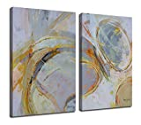 Canvas Wall Art Abstract Circle Stripes Painting Prints, Modern Geometric Vertical 24'x36' 2 Panels Blocks Pictures Gallery and Framed for Living Room Bedroom Home Office Kitchen Decor Original Design