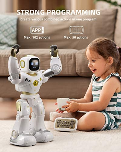 Ruko AI Robots for Kids, Large Programmable RC Robot Toy with APP Control Voice Command Touch Response Bluetooth Speaker Emoji for 3-12 Years Old Boys Girls (Golden) 14