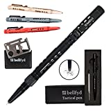 BellFyd Tactical Pen for Personal Protection and Self Defense - EDC Pen with Built-in Glass Breaker, LED Flashlight - Outdoors Survival Gear for Concealed Carry - Best Tactical Pens Holder Set