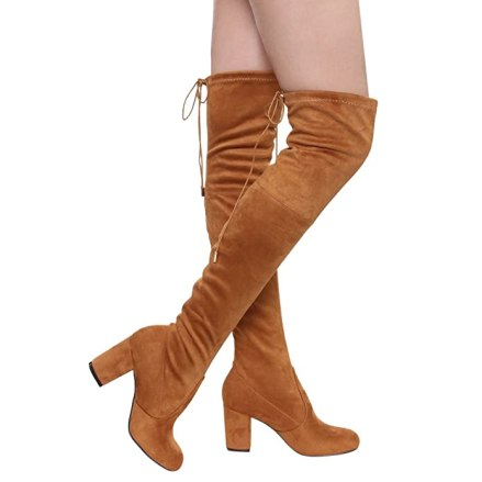 ShoBeautiful Women's Thigh High Boots Stretchy Drawstring Over The Knee Chunky Block Stiletto Heel Boots Camel 8