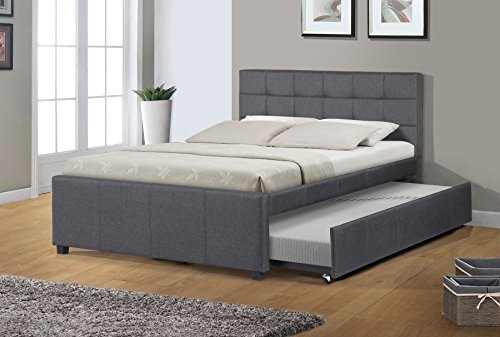 Best Quality Furniture K27 Full Bed W/Trundle, Dark Gray