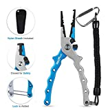 Wolfyok Aluminum Fishing Pliers, Stainless Steel Hook Removers Pliers, Saltwater Split Ring Tool & Braid Line Cutters with Sheath and Lanyard