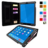 iPad Air 2 Case, Snugg Executive Black Leather Smart Case Cover Apple iPad Air 2 Protective Flip Stand Cover with Auto Wake/Sleep