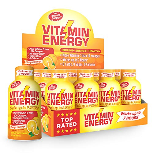 Vitamin Energy Shots – up to 7 Hours of Energy, More Vitamin C Than 10 Oranges, 0 Calories (12 Pack)
