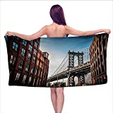 Onefzc Beach Bath Towel New York Manhattan Bridge Seen from Narrow Alley Island Borough Globally Influential Town NYC Hotel & Spa Bath Towel W40 x L10 Blue Red