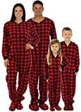 SleepytimePjs Family Matching Red Plaid Fleece Footed Pajamas (STM17-PLA-M-XL)