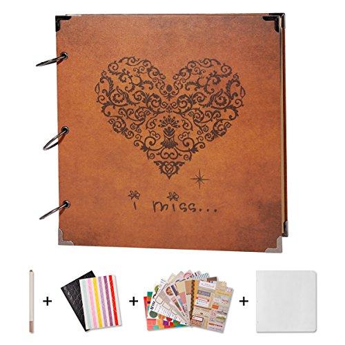 SICOHOME Scrapbook,Vintage Heart Scrapbook Ablum with Scrapbook Supplies for Wedding,Adault and Teens