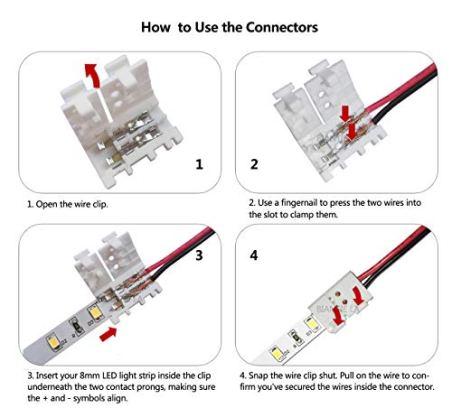 3528-2835-2-Pin-8mm-LED-Strip-Connector-DIY-Strip-to-Wire-Quick-Solderless-Connection-for-12v-24v-Single-Color-Led-Strip-Lights-Pack-of-10