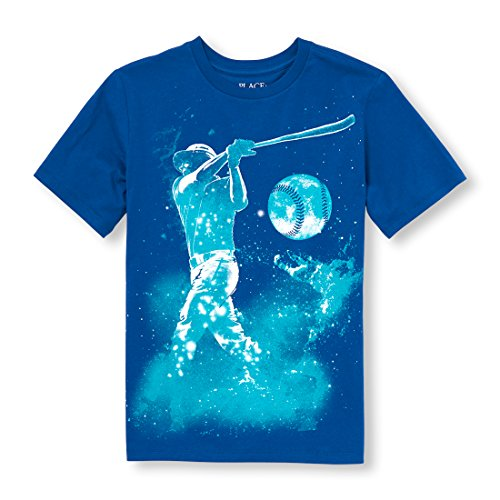 The Children's Place Boys' Big Sports Short Sleeve Graphic Tee, Inked, S (5/6)
