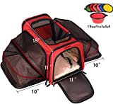 Premium Airline Approved Expandable Pet Carrier by Pet Peppy- Two Side Expansion, Designed for Cats, Dogs, Kittens, Puppies - Extra Spacious Soft Sided Carrier! (RED)