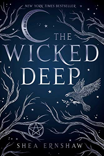 book cover blue night sky with silver trees and crow pentagram the wicked deep