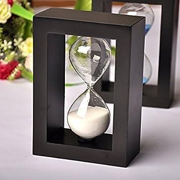 Meenakshi Handicraft Emporium Wooden Timer Clock Sandglass (Black white)