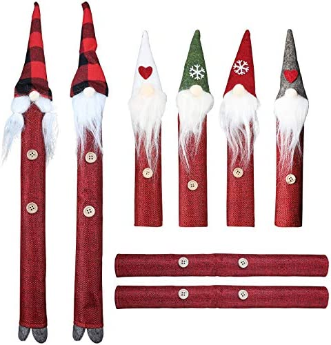 MorTime Christmas Refrigerator Handle Covers, Set of 8 Santa Claus Snowman Fridge Door Decorations, Kitchen Appliance Handle Covers Protector for Fridge Ovens Dishwashers