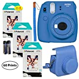 Fujifilm Instax Mini 9 Instant Camera (Cobalt Blue), 3X Twin Pack Instant Film (60 Sheets), and Instax Groovy Case Bundle