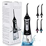 Water Flosser Cordless Dental Oral Irrigator - Jaspik 300ML Reservoir Professional Teeth Cleaner, Portable IPX7 Waterproof 3-Mode Family Flossing, 4 Jet Tips for Braces & Bridges Care, FDA Approved