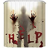 CHICHIC 71'x71' Halloween Shower Curtain Liner Window Curtains, Help Me with Bloody Hands for Halloween Decorations Theme Decor Props Bathroom
