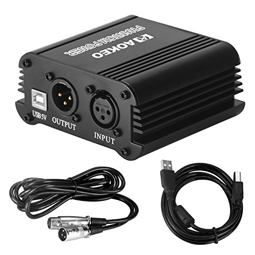 Aokeo 48V Phantom Power Supply Powered by USB plug in, included with 8 feet USB Cable, BONUS + XLR 3 Pin Microphone Cable for Any Condenser Microphone Music Recording Equipment