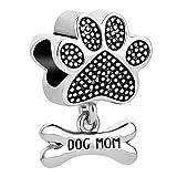 Casa De Novia Jewelry Paws Print Animal Dog Mom Charm Pet Heart Love Bead fit European Bracelets&Necklaces/Grey
