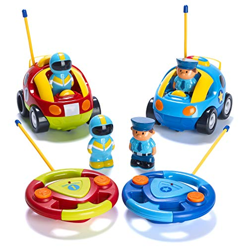 Prextex Pack of 2 Cartoon R/C Police Car and Race Car Radio