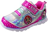 L.O.L. Surprise! Girls Sneakers, Light Up Tennis Shoe with Strap, MC Swag and Rocker, Pink, 11 Little Kid