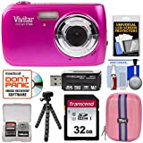 Vivitar ViviCam F126 Digital Camera (Pink) with 32GB Card + Case + Tripod + Kit
