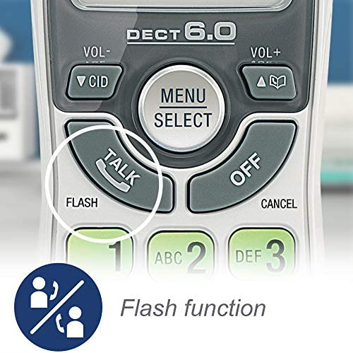 VTech CS6114 DECT 6.0 Cordless Phone with Caller ID/Call Waiting, White/Grey with 1 Handset 18