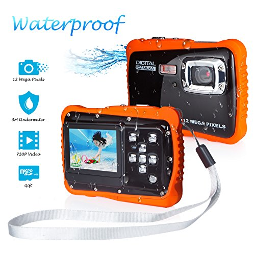 Kids Waterproof Digital Camera, FLAGPOWER Underwater Camera with 16G SD Card,12MP HD Pixels, 2.0 Inch Colorful Screen Sport Digital Video Camera Action Camcorder