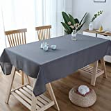 Lespoir Oblong Tablecloth 60x84 Inch Grey Tablecloth Coffee Table Cloths Water Resistant Spill-Proof Oblong Waterproof Tablecloth Table Cloth Table Cover