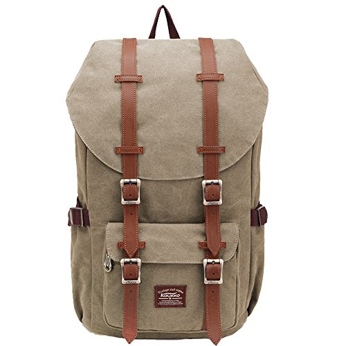 KAUKKO Laptop Outdoor Backpack, Travel Hiking& Camping Rucksack Pack, Casual Large College School Daypack, Shoulder Book Bags Back Fits 15' Laptop & Tablets (Ckhaki)