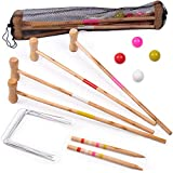 Kids Croquet Set for 4-Players | Classic Outdoor Lawn Game for Children | Great for Birthday Parties, Picnics, BBQs, and More | Comes with Mallets, Balls, Wickets, and a Carrying Bag for Portability