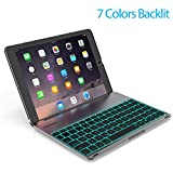 Keyboard Case Compatible with iPad PRO 9.7 Inch/iPad Air 2-LED 7 Colors Backlit Keyboard with 130° Folio Hard Back Cover, Aluminum Alloy- (for iPad Model: A1566/A1567/A1673/A1674)